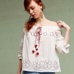 Harlyn Embroidery Tassel Blouse Anthro